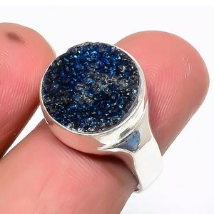 Titanium Drusy 925 Silver Handmade Ring 6.5